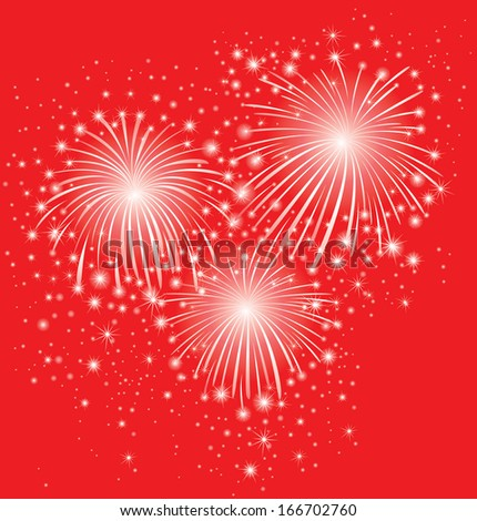 Starry festive fireworks background. - stock vector