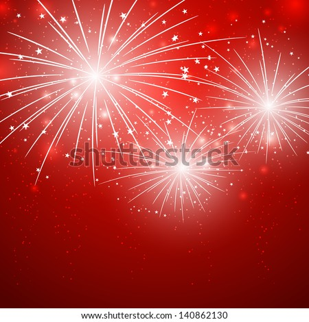 Starry fireworks on red background - stock vector