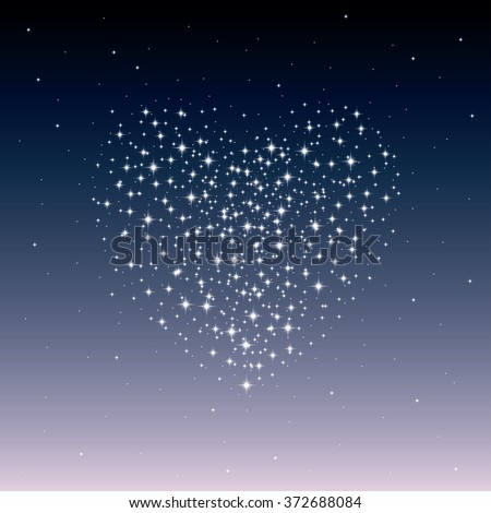 Starry heart as a galaxy. Valentine's day abstract background. Vector illustration - stock vector