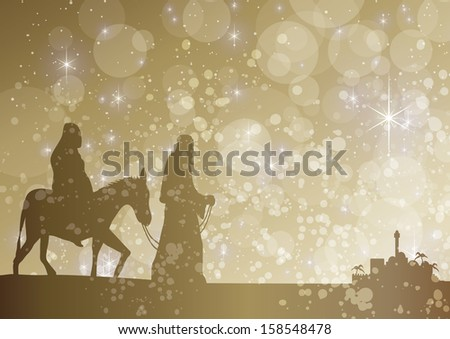 starry mary and joseph - stock vector