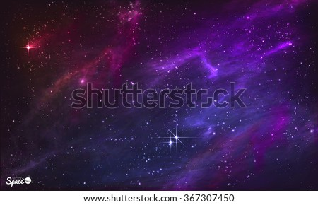 Starry Nebula. Colorful Outer Space background. Vector illustration.  - stock vector