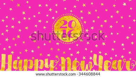 Starry New Year Greetings - Happy New Year greeting card with gold foil on white background littered with stars, 2016 holiday card - stock vector