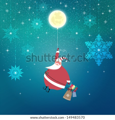 Starry night. Cute Santa Claus is flying holding the moon as a balloon. Christmas gifts are in his other hand. Seasons Greetings. Vector EPS 10 illustration. - stock vector