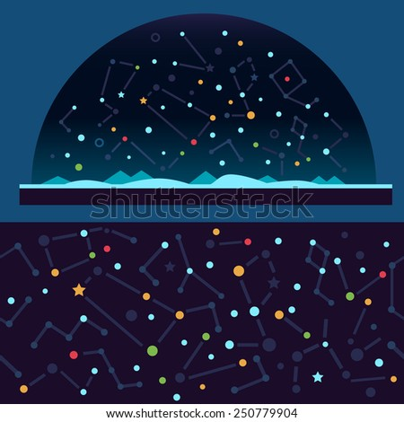 Starry sky, space. Stars, universe, constellation , galaxy , shooting star. Vector flat illustrations - stock vector