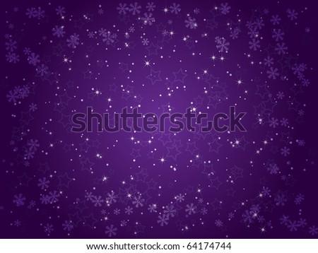 Starry winter night - stock vector