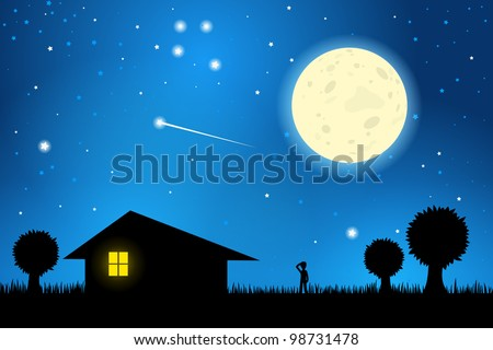 Stars and Moon in the Night Sky, EPS10 Vector - stock vector
