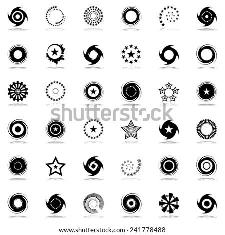 Stars and rotation design elements set. Vector art. - stock vector