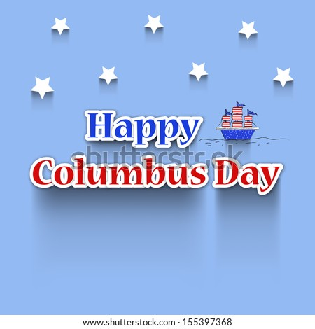 Stars and Ship on Blue shiny background for Columbus Day