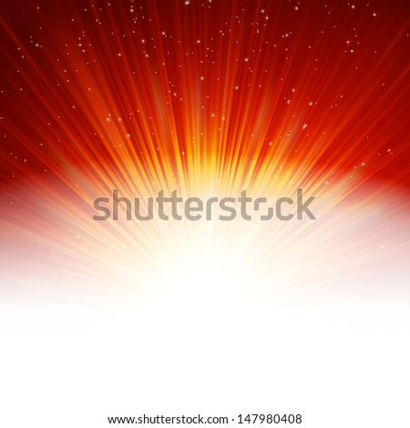 Stars and snowflakes on red golden background. EPS 10 vector file included - stock vector