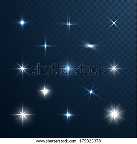 Stars and sparkles - collection of design elements on half-transparent background - eps10 vector - stock vector