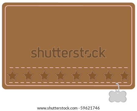Stars and Stitching Country Western Dog Collar Styled Name Tag - stock vector