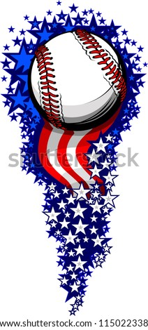 Stars and Stripes Fireworks Patriotic Baseball Vector Illustration - stock vector