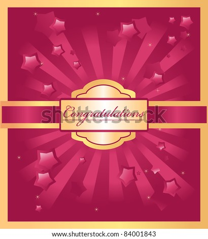 stars background with congratulations word - stock vector