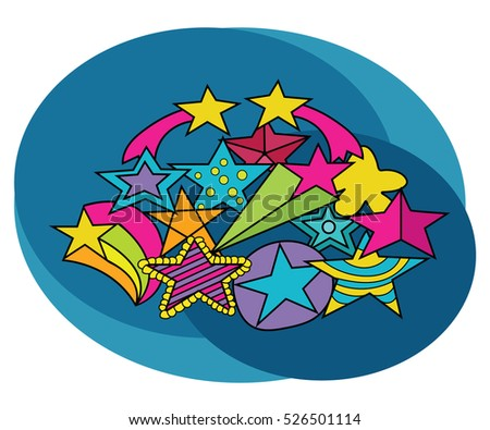 Stars design set. Cartoon free hand draw doodle vector illustration