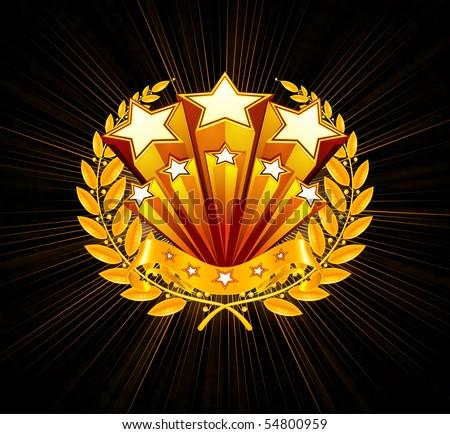 Stars emblem, black background - stock vector