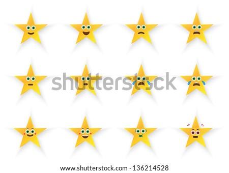 Stars Emoticons Set - stock vector
