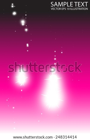 Stars falling on pink abstract background vector template - Vector sparkles fall over pink  background illustration - stock vector