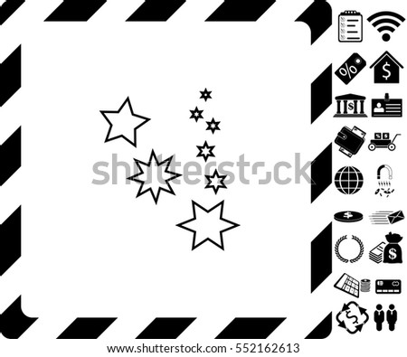 Stars favorite icon with bonus symbols on white background.