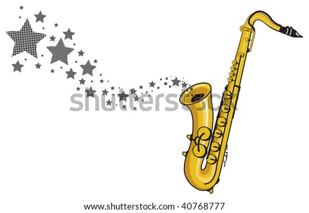 stars floating from a saxophone