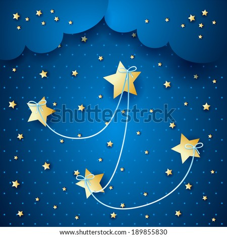 Stars linked on sky background, vector