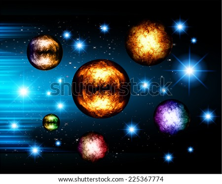 Stars of a planet and galaxy in a free space. meteor, meteorite, dark blue background.  - stock vector