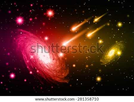 Stars of a planet and galaxy in a free space. meteor, meteorite. dark pink red yellow background. - stock vector
