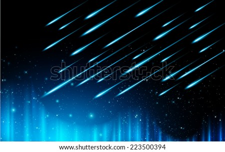 Stars of a planet and galaxy in a free space. meteor, meteorite, fire on dark blue  background.  - stock vector