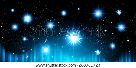 Stars of a planet and galaxy in a free space. meteor, meteorite, fire on dark blue background. Universe.