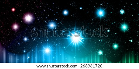 Stars of a planet and galaxy in a free space. meteor, meteorite, fire on dark blue purple green background. Universe. - stock vector
