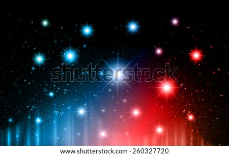 Stars of a planet and galaxy in a free space. meteor, meteorite, fire on dark blue red background. Universe. - stock vector