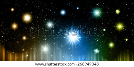 Stars of a planet and galaxy in a free space. meteor, meteorite, fire on dark orange blue yellow background. Universe. - stock vector