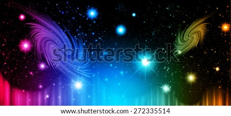 Stars of a planet and galaxy in a free space. meteor, meteorite, fire on dark orange green blue pink orange background. Universe. - stock vector