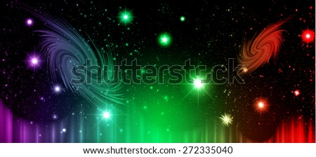 Stars of a planet and galaxy in a free space. meteor, meteorite, fire on dark orange green purple green red  background. Universe. - stock vector