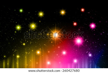 Stars of a planet and galaxy in a free space. meteor, meteorite, fire on dark yellow pink blue  background. Universe. - stock vector