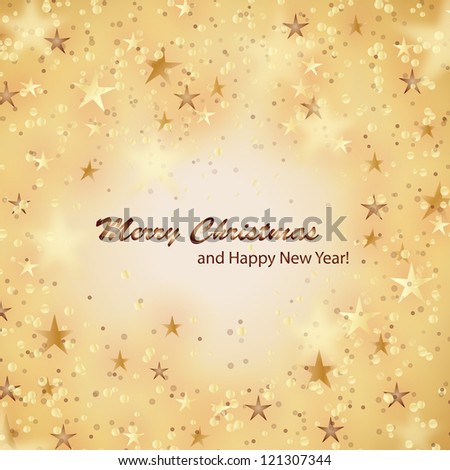 Stars on beige background - Vector illustration. Light beige abstract Christmas background with brown and golden stars - stock vector