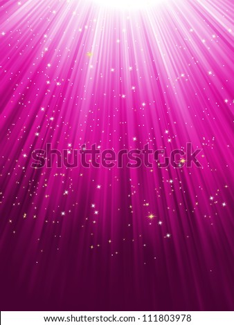 Stars on purple striped background. Festive pattern great for winter or christmas themes. EPS 8 vector file included - stock vector