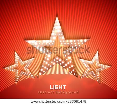 Stars retro light banner on shine red background. Vector  - stock vector