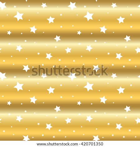 Stars seamless pattern gold and white retro background. Wave chaotic elements. Abstract golden foil texture. 3d effect sky - stock vector