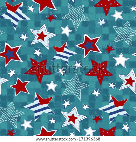 Stars seamless pattern. Seamless pattern with stars in cartoon style drawing hands - stock vector