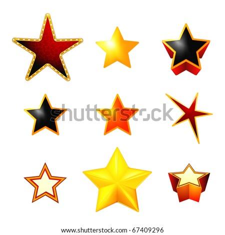 Stars set on white, eps10 - stock vector