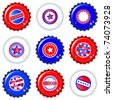 Stars & Stripes bottle caps. USA Fourth of July emblems. Water drops are on separate layer for easy editing. EPS10 vector format. - stock photo