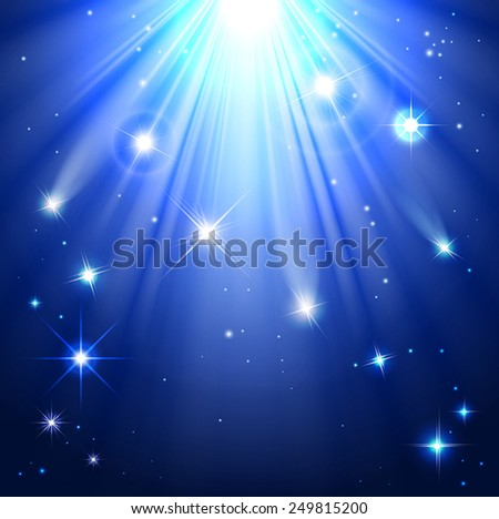 stars with rays of light in the night sky - stock vector