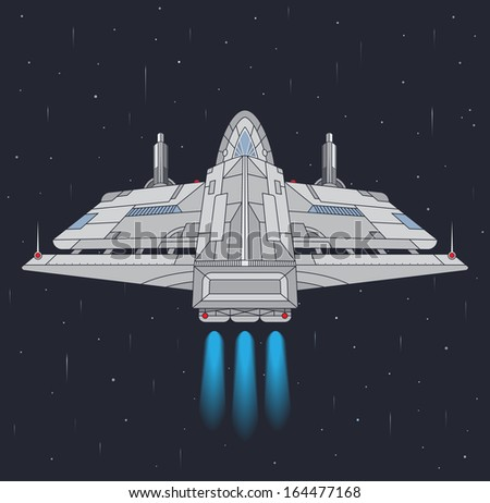 Starship in the space. EPS8. - stock vector