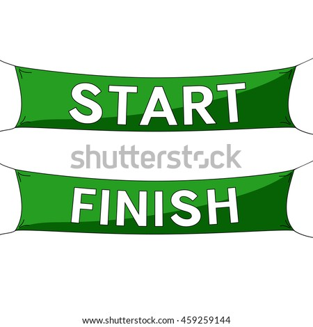 Start and finish lines, green banners. Vector illustration.
