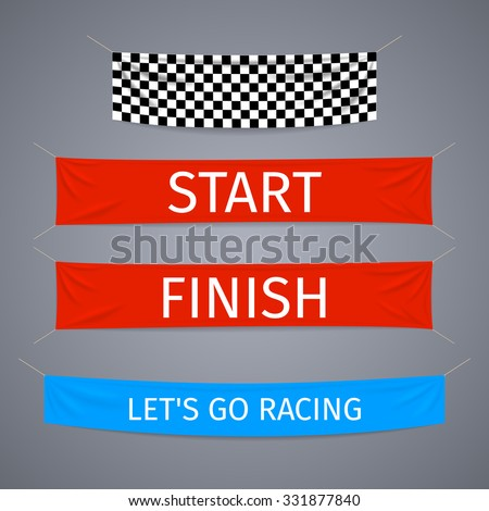 Start and finish textile banners vector set. Flag sport race, competition finishing, winner success illustration - stock vector
