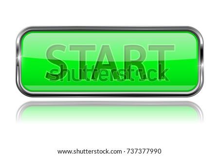 Start Button Square Green Button Chrome Stock Vector 737377990 ...