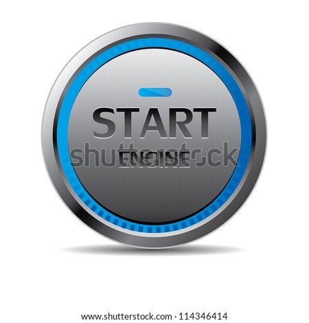 Start engine button vector - stock vector