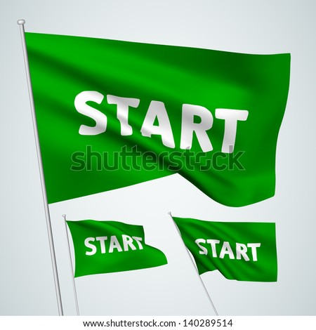 Start - green vector flags. A set of wavy flags created using gradient meshes. EPS 8 vector - stock vector