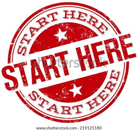 start here stamp - stock vector