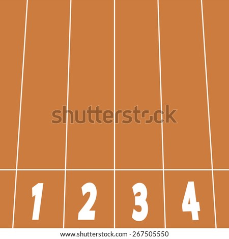 start line on running track - stock vector